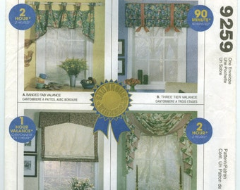 9259 McCall's - Home DEC in a SEC - Valances: Banded Tap, 3 Tier, Arch with Shade & Classic swag and Jabot - UNCUT sewing pattern