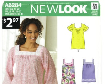 A6284 New Look Simplicity Misses Pullover Top - new sewing pattern, size 10-12-14-16-18-20-22