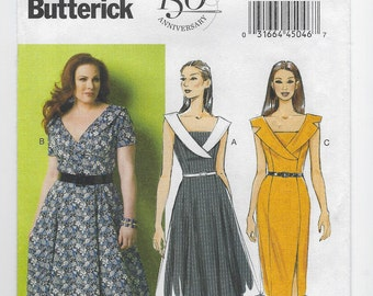 3f60ba37c87 B5930 - Butterick - Misses Mock Wrap Dress has Dickey and large collar -  NEW sewing pattern sz B5 8-10-12-14-16 or RR 18w-20w-22w-24w