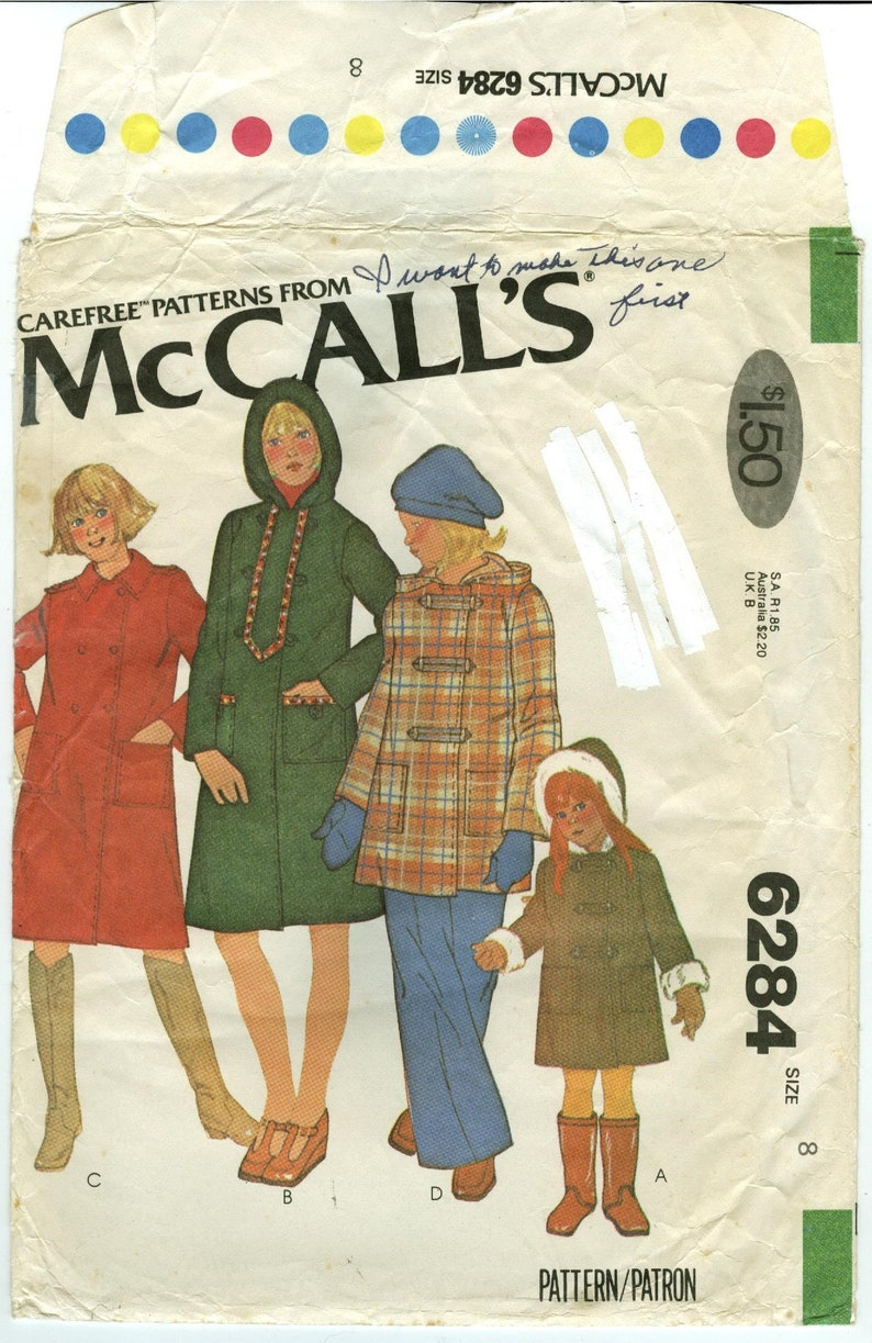 5499e55bde57 6284 McCall s Girl s Car Coat with Patch Pockets