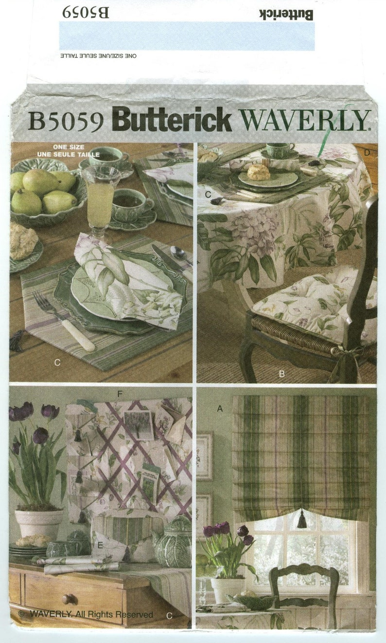 Kitchen Items Shades UNCUT sewing pattern Waverly Tea Cozy Table Runner B5059 Butterick Placemats Memo Board Chair Cushion