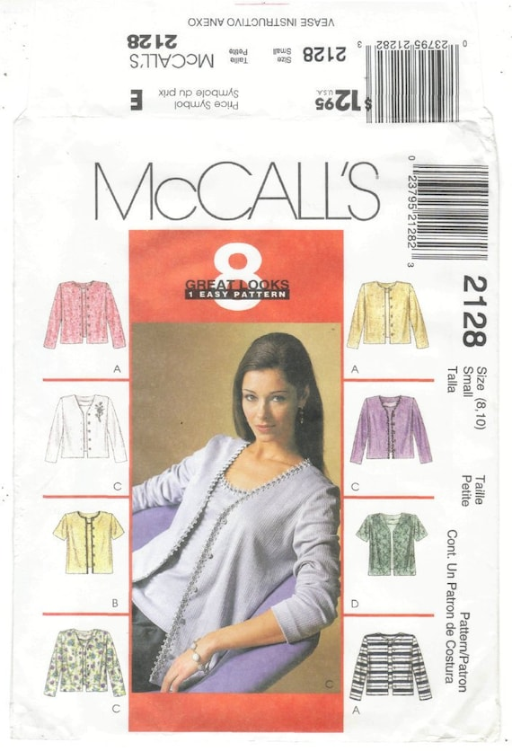 2128 UNCUT Vintage McCalls Sewing Pattern Misses Cardigan Top 8 Great Looks Easy