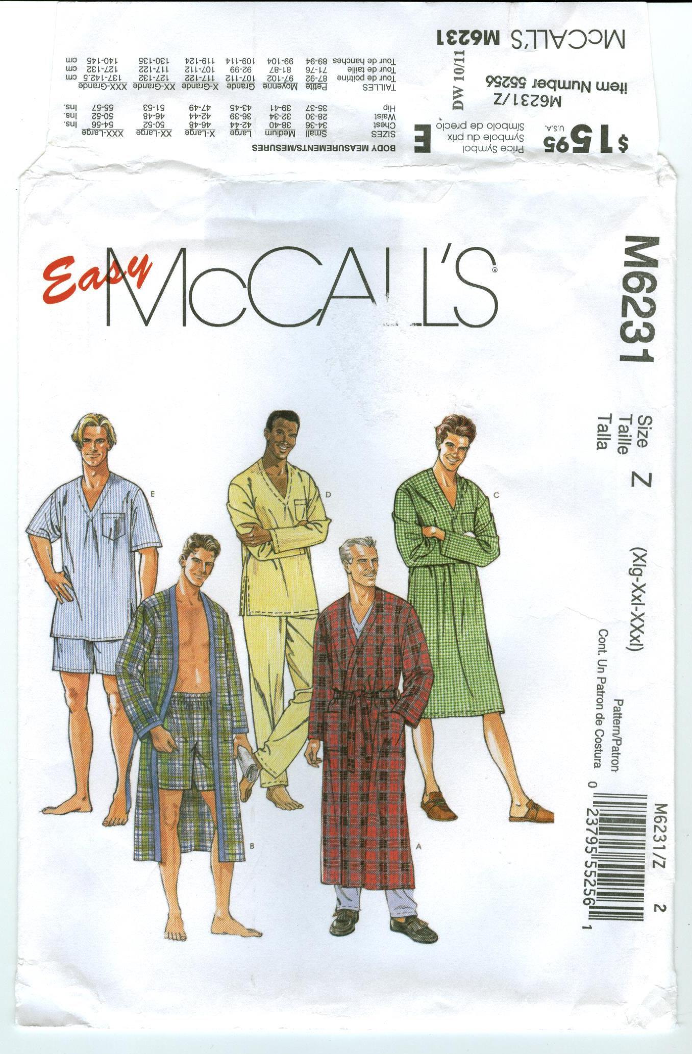M6231 McCall\'s Men\'s Sleepwear Robe in 2 lengths   Etsy