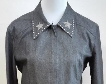 149bd406e22870 Dark Grey Denim Star Spring Jacket ITALY size L
