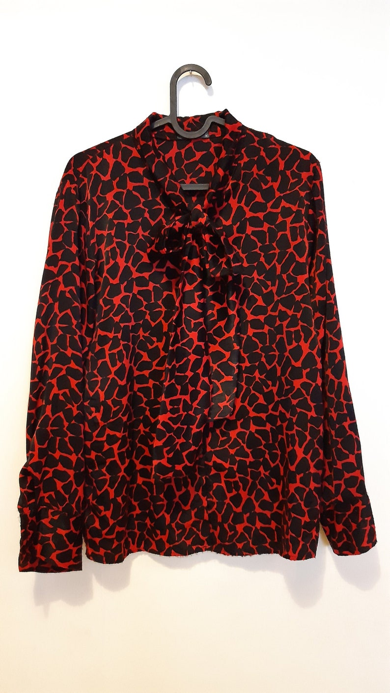 Black Red Spotted Vintage Italian Women Shirt