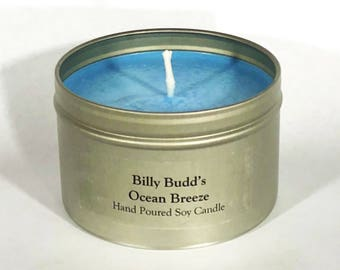 Ocean Breeze Scented Soy Candle 8 oz--Ocean Gift--Billy Budd in the Breadbox--Herman Melville Gift