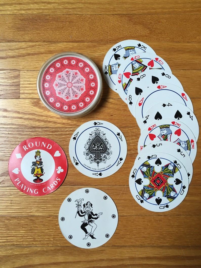 Round Playing Cards With Tulips Vintage Cards In Case Craft Etsy