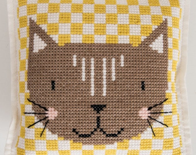 Featured listing image: CUSHION KIT A BRODER felt geometric Brown Cat Head 42 x 42 cm