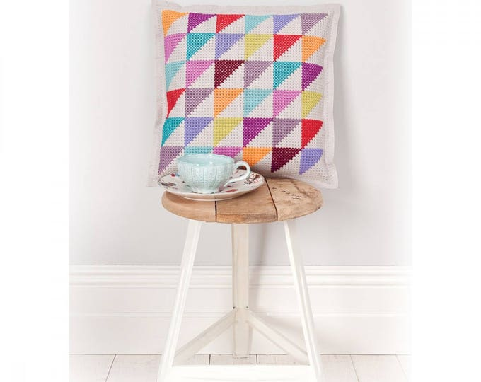 Featured listing image: CUSHION KIT A BRODER felt ivory multicolored triangles 42 x 42 cm