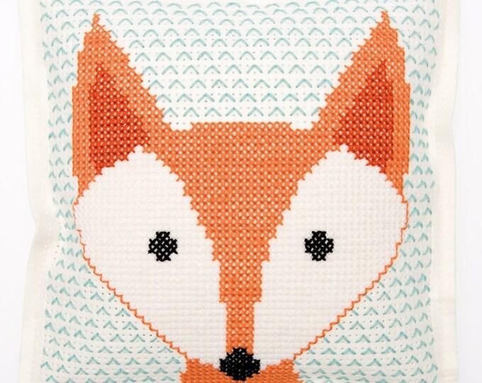 Featured listing image: CUSHION KIT A BRODER felt geometric Fox head 42 x 42 cm