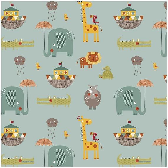 GIRAFFE CROSSING fabric cotton patchwork Giraffe Crossing 2 green x50cm