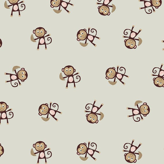 AVALANA AVALANA monkeys cotton jersey fabric khaki grey and Brown x40cm