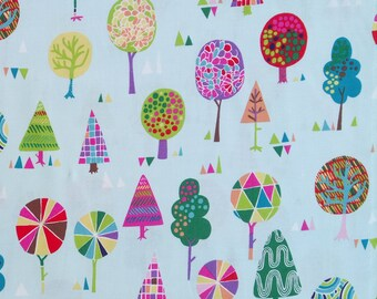 MAGIC TREES fabric cotton patchwork colorful trees x50cm