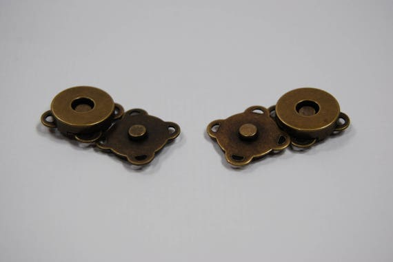 Set of 2 magnetic snaps to sew for 14 mm bronze