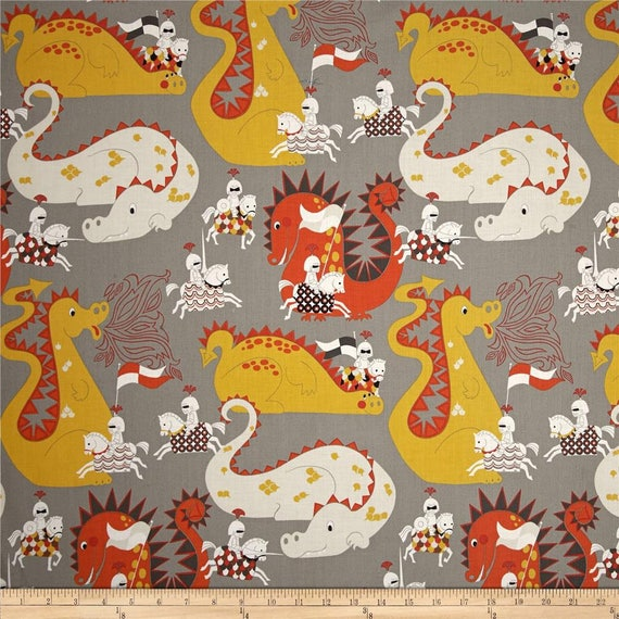 DRAGONS Coupon fabric cotton patchwork Knight Meets Dragon grey and orange x1m