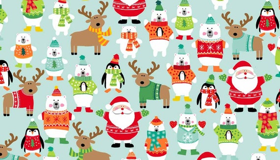 CHRISTMAS fabric cotton patchwork Scatter turquoise characters Christmas x 50 cm