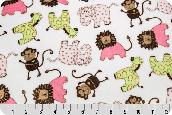 MINKY fabric Coupon SAFARI green and pink 90x155cm printed synthetic Velvet