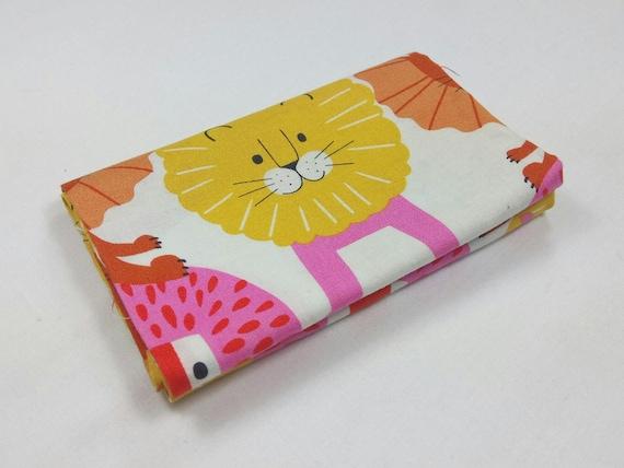 LITTLE LION fabric Coupon cotton patchwork Little Lion yellow orange and pink 50x55cm