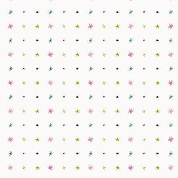 Cotton fabric sewing printed Sun flashy stars and gold x50cm white background