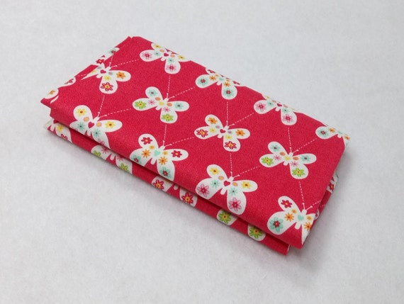 GARDEN GIRL Coupon fabric cotton patchwork Butterfly flowers red 50x55cm