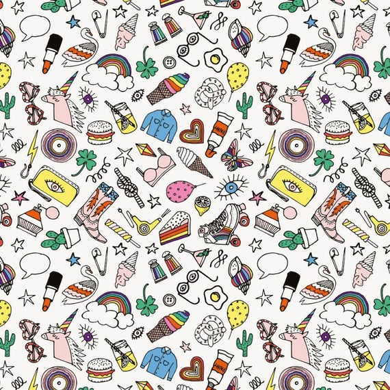 Cotton fabric soaked sewing PVC shiny multicolored icons on a white x40cm