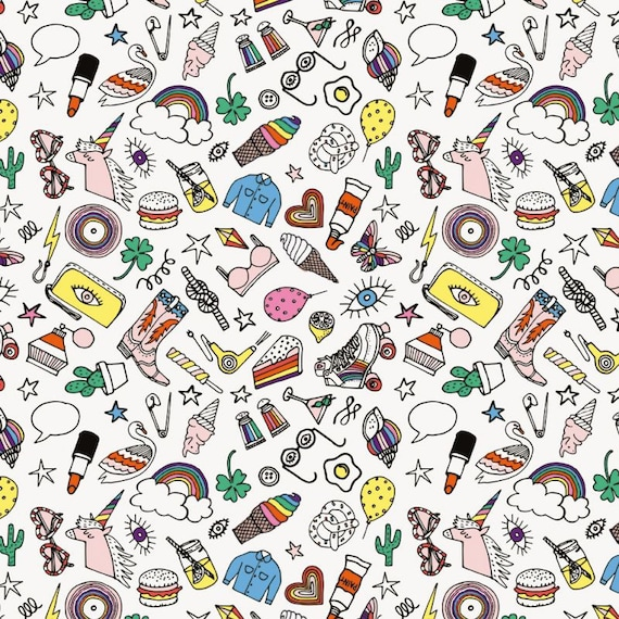 Cotton fabric soaked sewing PVC shiny multicolored icons on a white x 1 meter