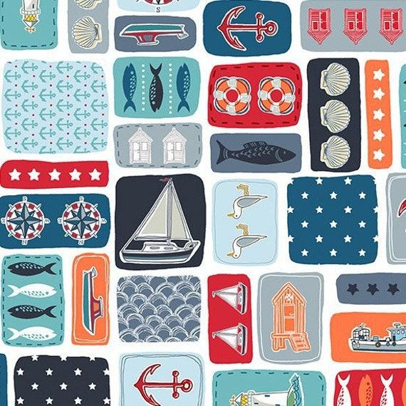 MARINA tissue cotton patchwork MARINA mounting squares sea x50cm symbols