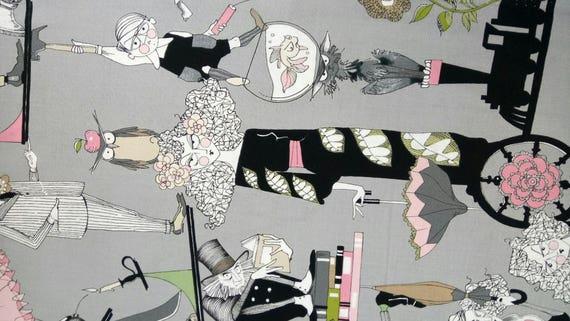 GHASTLIE fabric by Alexander Henry Ghastlie Family years 30 grey x50cm