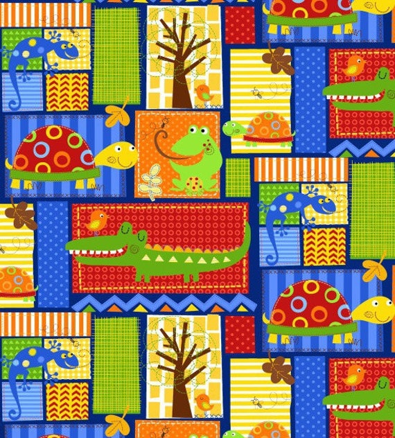 FUN NATURE fabric WITH cotton patchwork squares turtles frogs and crocodiles x50cm