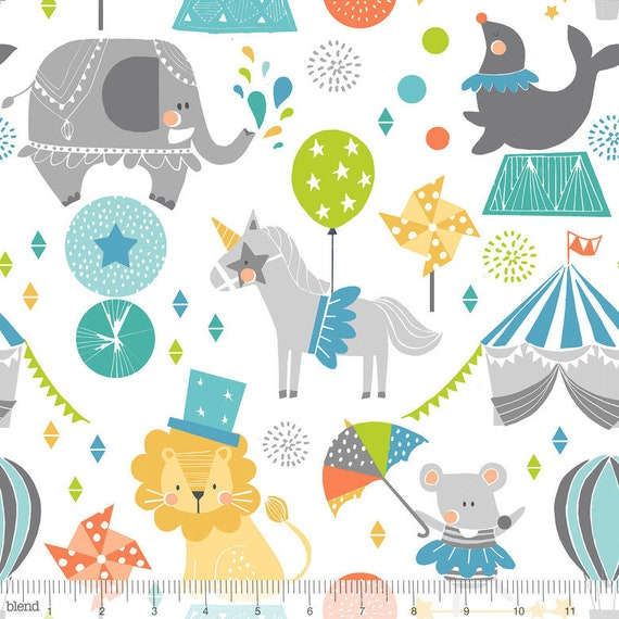 CALLIOPE fabric cotton patchwork Step Right Up Blue on white x 50 cm Blue circus animals