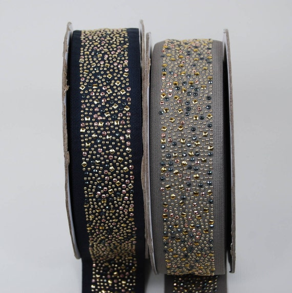 Elastic Ribbon 50 mm gold and black studded gray 2 color x1m