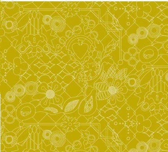 SUN PRINTS fabric cotton mustard yellow patchwork x50cm