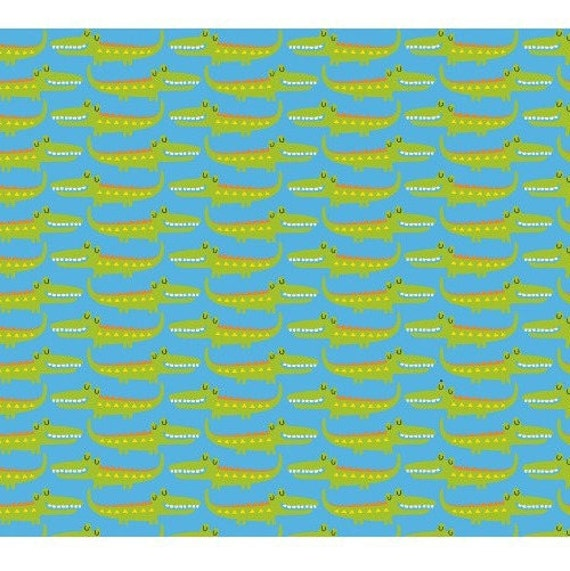 FUN NATURE fabric WITH cotton patchwork mini crocodiles x50cm turquoise background