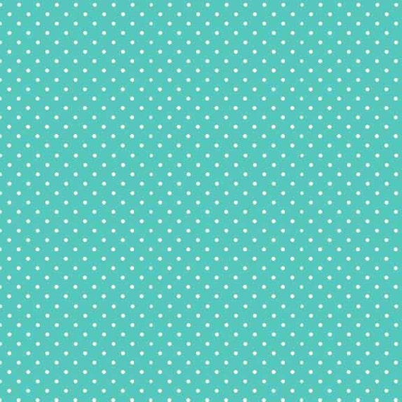 SPOT ON fabric cotton patchwork polka dot white on light turquoise x50cm
