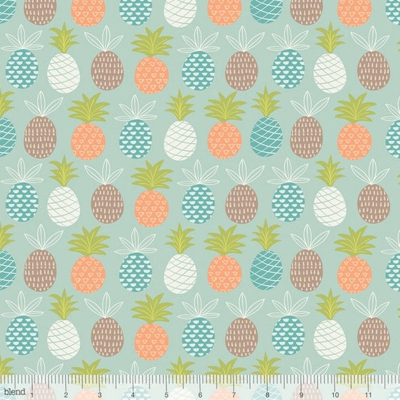 MINEY MOE cotton fabric patchwork colourful pineapple peach blue grey and purple x50cm