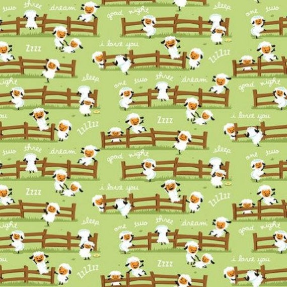 HARMONY FARM cotton patchwork white sheep in the meadow on green x50cm
