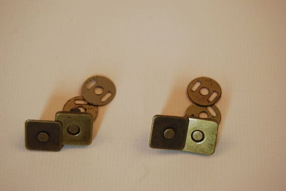Set of 2 magnetic snaps square bronze 14mm