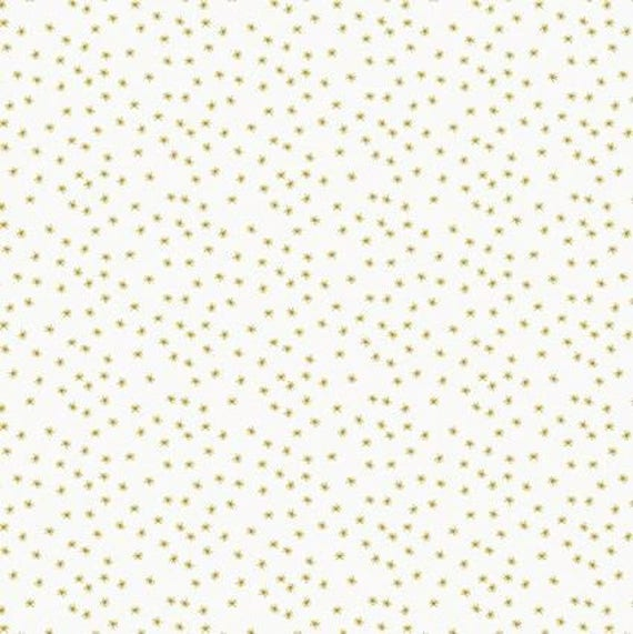 Cotton fabric sewing printed Golden x50cm white small stars in the Sun
