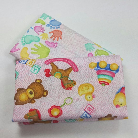 Set of 2 cotton fabric coupon MIRACLE pink patchwork A MIRACLE Petal pink pale 50x55cm