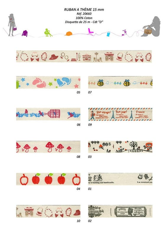 Fancy baby paris or stitching on bottom ivory x2m printed cotton Ribbon