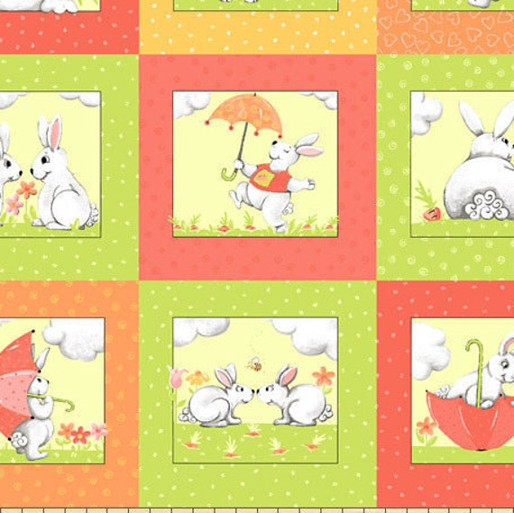 SUSYBEE fabric Coupon cotton patchwork WORLD of SUSYBEE 4 scenes rabbits Plaid green and pink 50x55cm