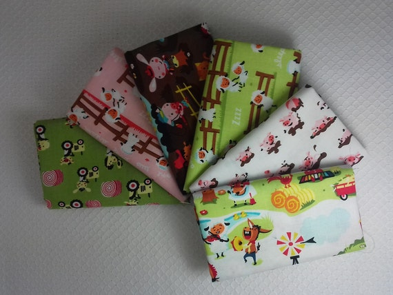 HARMONY FARM set of 6 white 50x55cm farm animals cotton patchwork fabric Coupons