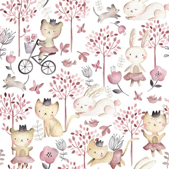 PLAY DAY cotton fabric patchwork Play Day cats rabbits mouse Brown gray and pink on white x50cm