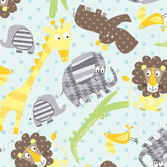 ZOO BABY fabric cotton patchwork Zoo Animals Baby Turquoise x50cm