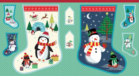 FROSTY Coupon fabric cotton patchwork Stocking Advent Panel x60cm Large FROSTY