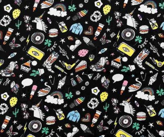 Cotton fabric sewing printed designs of fashion accessories and artistic flashy on black x50cm