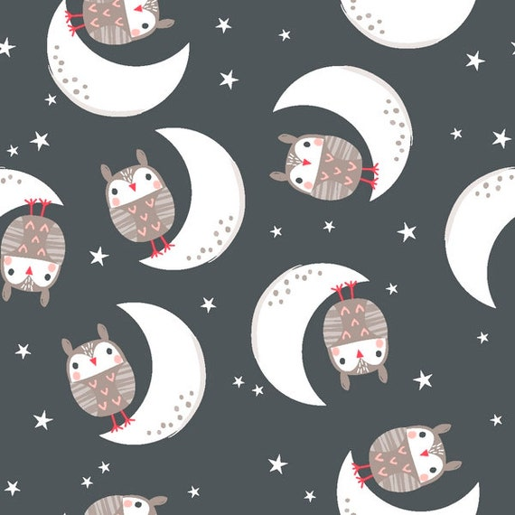 GOOD NIGHT FOREST fabric cotton patchwork OWL on the moon on a dark background x 50 cm