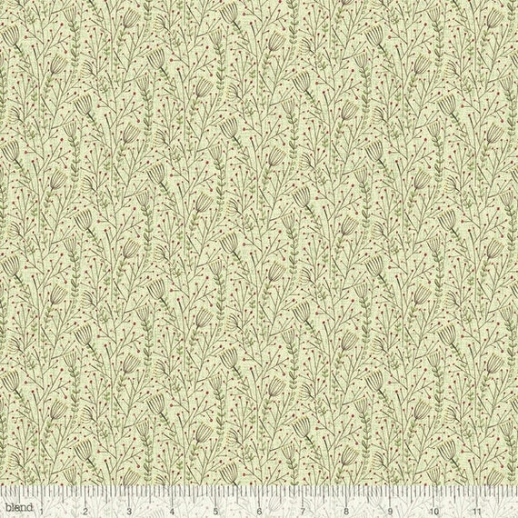 WINTER NEWS cotton fabric patchwork Lace Flowers, Green flowers x50cm