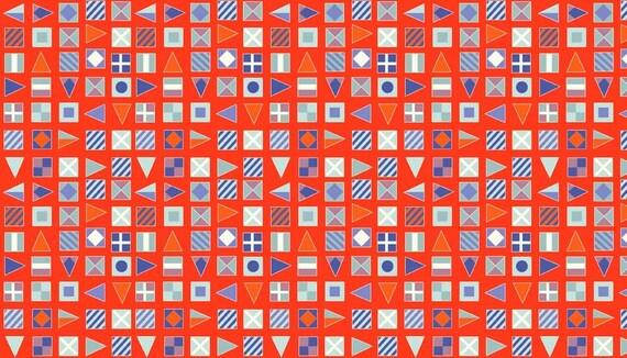 SALE cotton fabric patchwork Red Sea flags edge Orange x1m