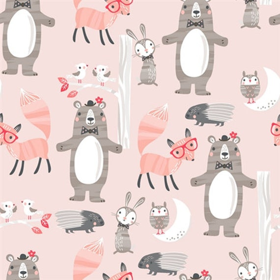 GOOD NIGHT FOREST fabric cotton patchwork animals on pink x 50 cm